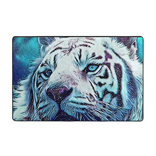 Alfombra antideslizante para salón, dormitorio, 152 x 99 cm, diseño de tigre blanco