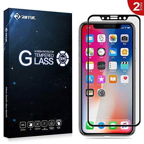RIFFUE Apple iPhone X Protector de Pantalla, Cristal Vidrio Templado Glass Premium [9H Dureza] [3D Touch] [Alta Definicion] [Cobertura Completa] 0.26mm Screen Protector Film (2 Unidades) - Negro