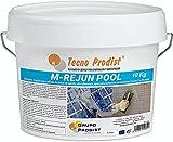 M-REJUN POOL de Tecno Prodist - (10 kg) Mortero flexible para sellado de juntas de baldosas y gresite en piscinas, ceramica, ladrillo, etc, apto para inmersión permanente (Junta 2 a 20 mm) Blanco