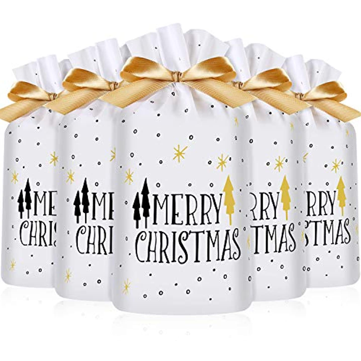 Frienda 30 Packs Treat Bags with Drawstring Candy Bags, Plastic Favor Bag Drawstring Cookie Bags for Christmas Wedding Party Birthday Engagement Holiday Favor