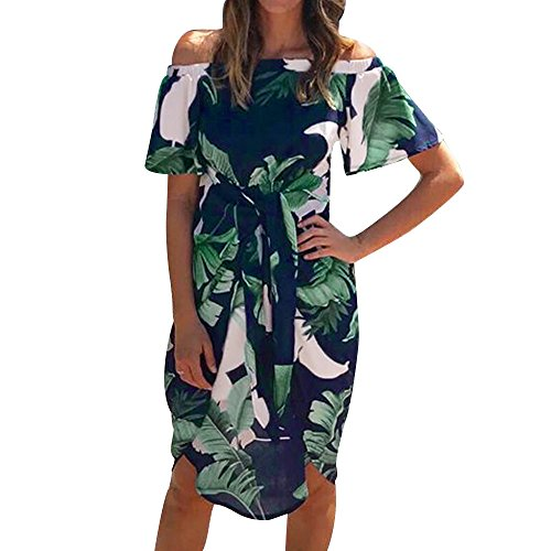 Pitauce Off Shoulder Dresses for Women Tropical Palm Leaves Print Bell Sleeve Ruffle Casual Beach Sundresses Green