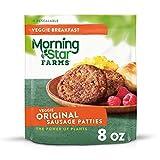 MorningStar Farms Veggie Breakfast Meatless Sausage Patties, Plant Based Protein, Frozen Breakfast, Original, 8oz Bag (6 Patties)