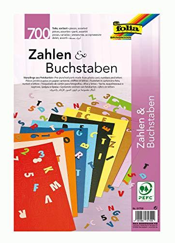 folia 61700 - Fotokarton Stanzteile, Buchstaben und Zahlen 700 Stück, farbig sortiert