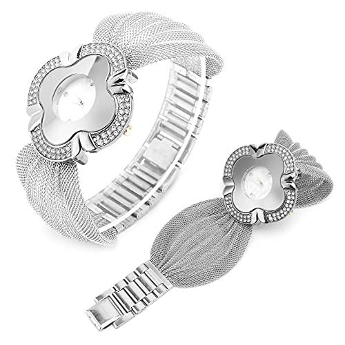 Reloj con cinturón de malla, reloj de cuarzo para mujer Exquisito resistente al desgaste Elegante con alta confiabilidad para fiestas