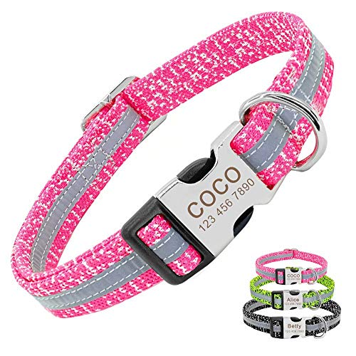 PET ARTIST Personalised Dog Collars for Small Medium Large Dogs, Reflective Engraved Dog Collar with Name for French Bulldog Pug Poodle Boxer German Shepherd,Pink,M(Neck 12.5-19.5'')