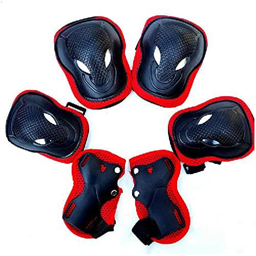 Casco para niños para Edades 4-14 Jóvenes Niños Niños Niñas Equipo Protector Ajustable con Pistas de muñeca de la Rodilla,Red