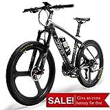 LANKELEISI S600 Mountain Bike Ultra Leggera da 18 kg in Fibra di Carbonio Senza Bicicletta elettrica con Freno Idraulico Shimano Altus (in Bianco e Nero)
