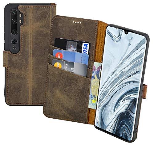 Suncase Book-Style Hülle kompatibel mit Xiaomi Mi Note 10 Pro Leder Tasche (Slim-Fit) Lederhülle Handytasche Schutzhülle Hülle mit 3 Kartenfächer in antik-braun