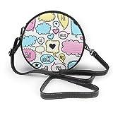 Colorido bocetos con diseño de burbujas de habla redonda cruzada con cremallera para el hombro, bolso de cuero suave, para mujeres personalizadas