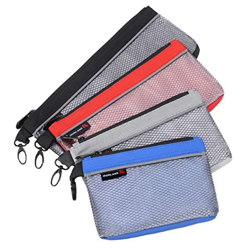 IRONLAND 1680D Utility Bag, 4 Pack Zipper Tool Bags Waterproof Heavy Duty in Blue, Grey, Red, Black Tool Pouch (7/9/10/12 inch clear)