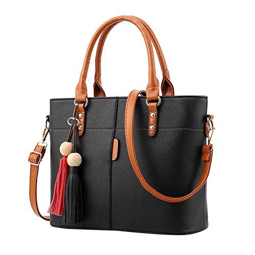 JJLIKER Women Leather Handbags Purse Wallets Zipper Totes Crossbody Fashion Casual Work Bags Shoulder Messenger Pack