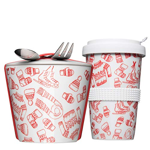 Mahlwerck Coffe2Go & Snack2Go Kaffeebecher und Lunchbox XXL, Porzellan to go Set mit Silikonbanderole, Winter-Edition, Rot, 2er Set