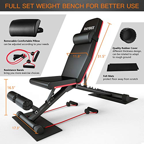 Raybee Foldable Workout Bench Adjustable Weight Bench for Full Body Strength Training Exercise Bench for Home Flat Bench