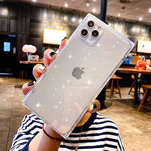 KESHOUJI Custodia per Telefono per iPhone 12 Mini 12 11 PRO X XR XS Max 6 6s 7 8 Plus SE 2 Luxury Glitter Bling Square Design Soft TPU per iPhone 12, Trasparente, per iPhone 12pro Max