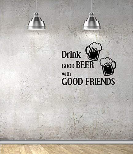 Online Design Drink goed bier met goede vrienden Wall Art Sticker Vinyl Decal Quote Pub bar