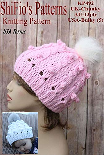 Knitting Pattern - KP492 - ladies & childs cable  bobble hat beanie- USA Terminology (English Edition)