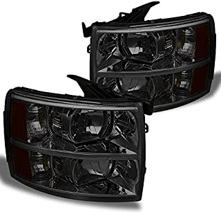 For Smoke Smoked 2007-2013 Chevy Silverado 1500 2500HD 3500HD Pickup Truck Headlights Front Lamps Left+Right Pair