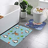 Bathroom Rugs And Mats Sets 3 Piece Funny Santa Claus And Reindeer Merry Christmas Bath Mat Rug Non Slip Washable Toilet Seat Cover Rugs U Shaped Bathmats Carpets Contour Floor Mats for Bathroom Decor