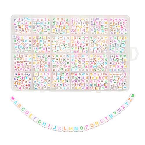 TOAOB 960 Stück 6x6mm Weiß Buchstabenperlen Bunten Wort A bis Z mit Liebe Herz Würfel Acryl Spacer Perlen für Armbänder Halsketten Schmuckherstellung