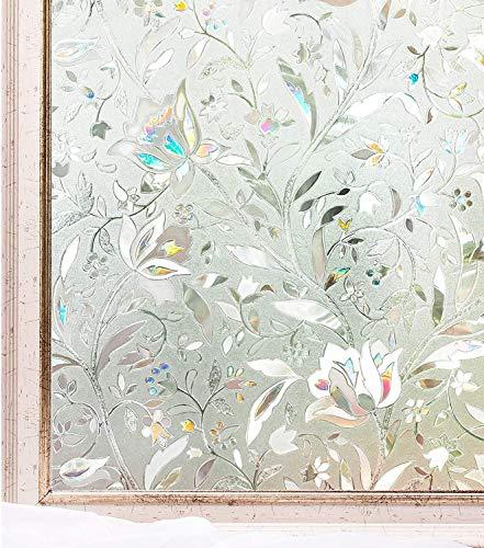 Undurchsichtige Sichtschutzfensterfolie, 3D-Blumenglas-Aufkleber, elektrostatische Selbstklebende Fensterglasaufkleber Fensterfolie F 30x100cm