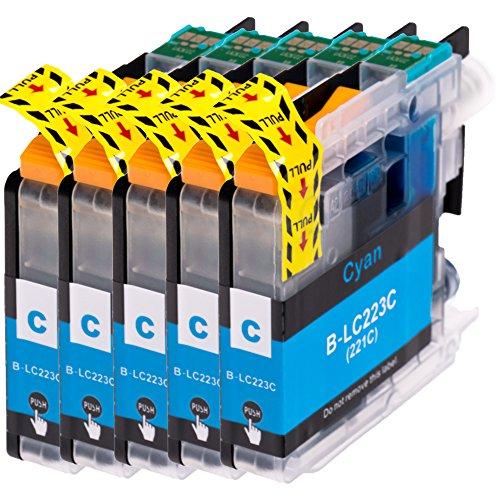AfiD 5er Set Druckerpatronen zu Brother LC-223 Cyan für MFC-J 4620 DW MFC-J 4625 DW MFC-J 480 DW MFC-J 5320 DW MFC-J 5600 Series MFC-J 5620 DW MFC-J 5625 DW MFC-J 5720 DW MFC-J 680 DW MFC-J 880 DW