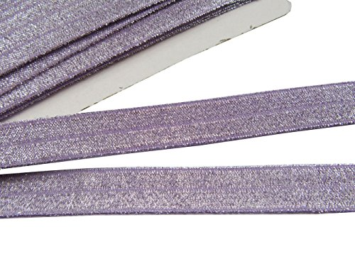 YYCRAFT 5/8' 15 Yards Glitter Fold Over Elastic Stretch Foldover FOE Elastics for Hair Ties Headbands(Lavender)