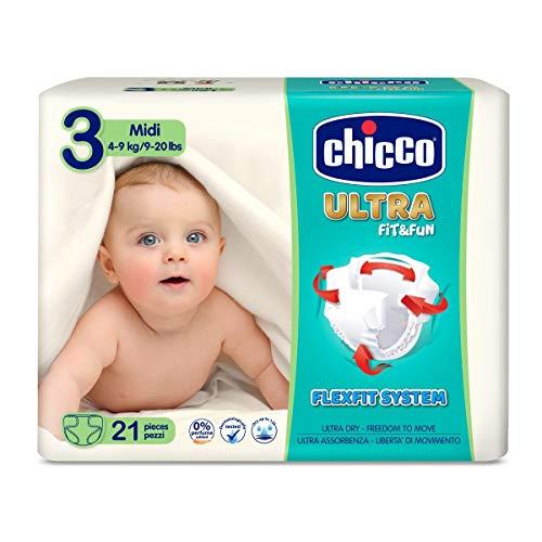 Chicco Chicco Ultra Fit&Fun - Confezione da 21 pannolini ultra assorbenti, taglia 3, 4-9 kg (Midi) 21 pz - Pannolini Maxi 4-9 kg 21 pz