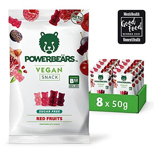 Powerbeärs Vegan - Vegane Gummibärchen ohne Zucker - 8x50g kalorienreduzierte Gummibären mit Vitamin B12 - Fruchtgummi Geschmack: Rote Früchte