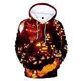 x8jdieu3 Halloween 3D Impression numérique Pull Sweatshirt à Manches Longues lâche Polaire à Capuche Chandail Chaud...