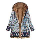 iHENGH Damen Winter Jacke Dicker Warm Bequem Slim Parka Mantel Lässig Mode Frauen Outwear Katze Print Kapuzen Taschen Vintage übergroßen Coat(Blau, M)