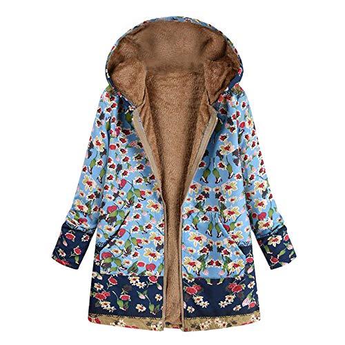 NEEKY Damen Winter Warme Jacke Outwear Lässiger Print Taschen Kapuze Oberbekleidung Frauen Vintage Oversize Hasp Mäntel(EU:52/4XL, Blau01)