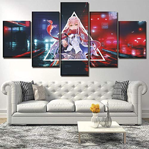 RZHSS Impresiones sobre Lienzo,Anime Darling In The Franxx Zero Póster Mural 5 Piezas Lienzo Pintura Impresa Modular Cuadros Decoraciones De Pared Moderno Creativo (Sin Marco) Talla L
