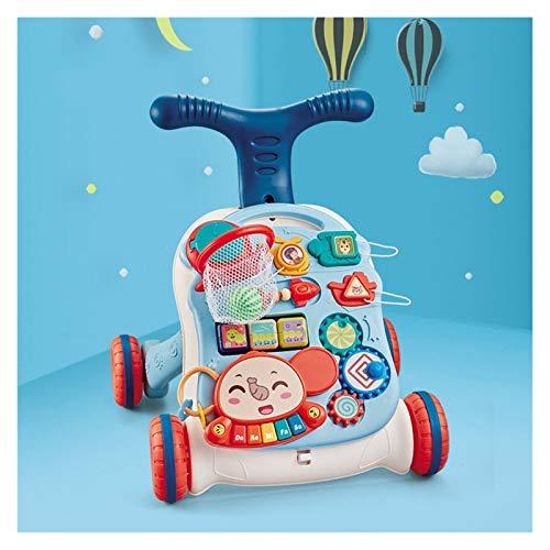 ZHIZI Libros blandos Baby Walker, coche de juguete para niños portátil ajustable en altura (Color : Blue)