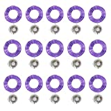 Starry String Fairy Lights 3 Flashing Mode Firefly Lights with Timer,20 Micro LED on 7.2feet/2m Silver Copper Wire Battery Powered for DIY Wedding Party Centerpiece Decorations Pack of 15 (Purple)