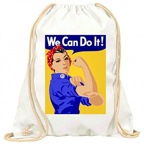 Druckerlebnis24 Turnbeutel EMANZIPATION- Eurythmics- Feminismus- Muskel- Macht- Revolution- Schwestern- Frauen- MÄDCHEN- Plakat mit Kordel - 100% Baumwolle- Gymbag- Rucksack- Sportbeutel