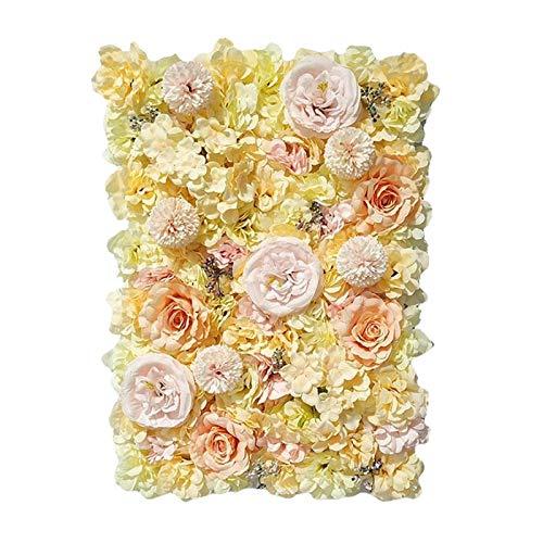 Milageto Paneles florales 24'x 16' Pantalla de pared de flores artificiales flores románticas fondo Floral decoración de boda foto fotografía Fondo decoración - Champán