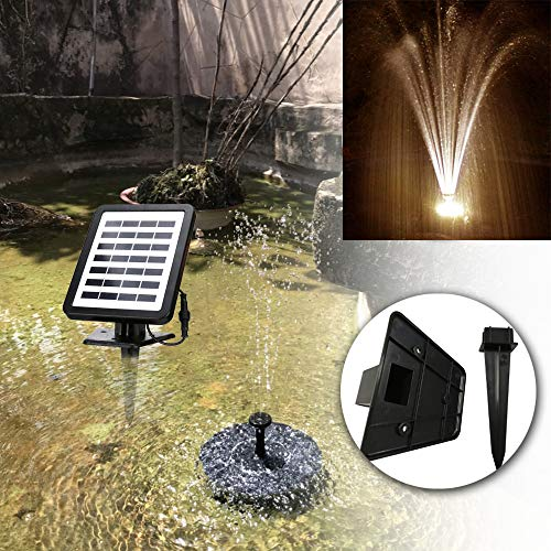 Froadp Solarpumpe mit LED 1,5W Power Springbrunnen Solar mit Akku Wasserspiel Teichpumpe Fontäne Pumpe, inkl. 4 Fontänenaufsätze für Gartenteich Gartenbrunnen - Warmweiß Licht