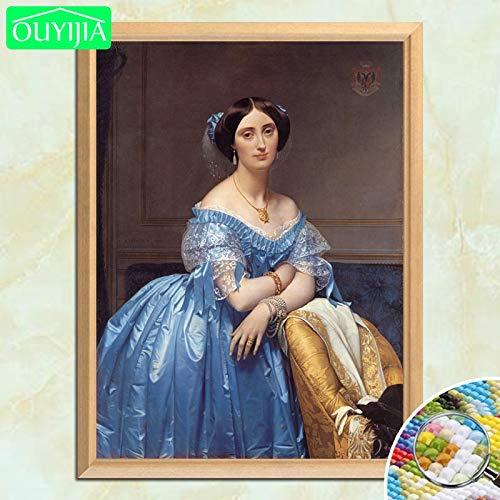5D-DIY-Pintura mundialmente Famosa Princesa pasando por la Falda de Color Diamante Pintura Cuadrada Bordado de Diamantes de imitación Mosaico Imagen 40x50cm
