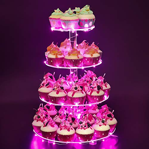 YestBuy 4 Tier Round Cupcake Stand – Premium Cupcake Holder – Acrylic Cupcake Tower Display – Acrylic Display for Pastry + LED Light String – Ideal for Weddings, Birthday Parties & Events (Pink)