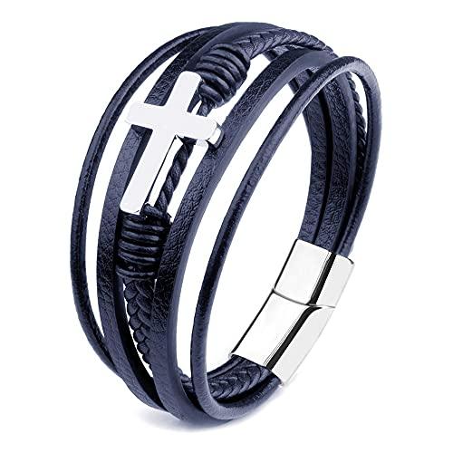 Pulseras de diseño clásico con cruz para hombre, de cuero auténtico, de acero inoxidable, con cierre de imán de múltiples capas, trenzado, pulsera de mano (longitud: 21 cm, color metálico: azul)