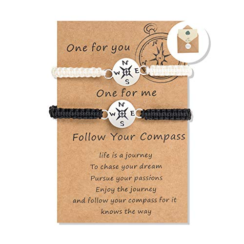 Compass Bracelets for Couples Long Distance Relationship Valentines Day Gifts for Women Best Friend Birthday Party