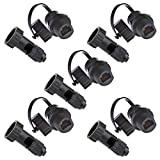 Anmbest 5PCS Panel Mounting RJ45 Waterproof Cat5/5e/6 8P8C Connector + One End Waterproof Head Ethernet LAN Cable Connector Double Head Coupler Adapter Female to Female with Waterproof/Dust Cap
