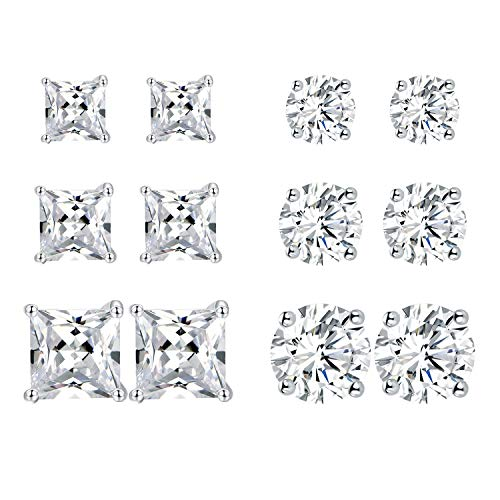 6 Pairs 18K Gold Plated Cubic Zirconia Stud Earrings Set Princess Round Clear Sparkling CZ Hypoallergenic Jwerlry for Women Men white gold plated