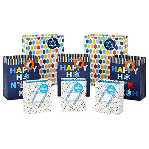 Hallmark Hanukkah Gift Bag Assortment (8 Gift Bags: 3 Small 6', 3 Medium 9', 2 Large 13') Star of David, Dreidels, 'Happy Hanukkah' in Navy Blue, Orange, Yellow