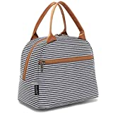 Lunch Bag Tote Bag Lunch Organizer Lunch Holder Insulated Lunch Cooler Bag for Women/Men,White&Black Strip