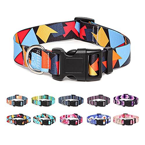 Suredoo Collar Perro, Ajustable y Resistente con Patrones de Moda, Collar Nylon Cómodos para Perros Pequeños Medianos Grandes, Cachorros (S, Bloque Color)