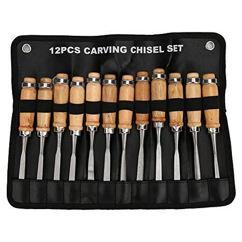 Herramientas para tallar madera, 12 piezas Juego de herramientas para cincelar cuchillos para carpintería de acero, con bolsa de almacenamiento, para principiantes, aficionados y profesionales