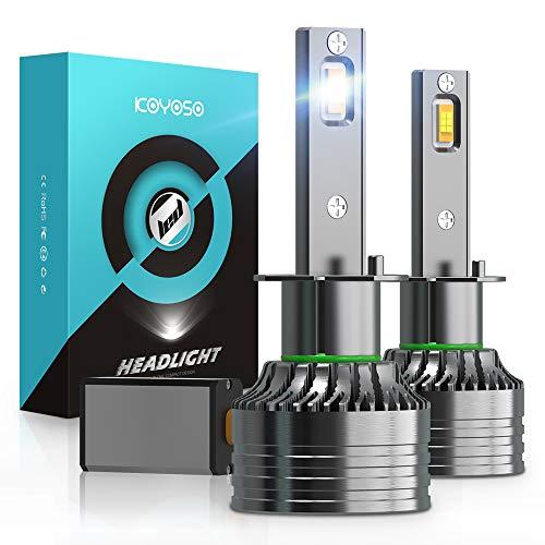 Bombillas H1 LED 16800LM Coches, KOYOSO 100W Lámpara 6000K Blanco
