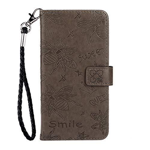 Blllue Wallet Case Kompatibel mit Samsung S9 Plus, 3D Bee Muster PU Leder Handyhülle für Samsung Galaxy S9 Plus - Grau