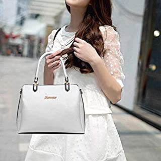 WTYD Single Shoulder Bag Casual PU Shoulder Bag Ladies Handbag Messenger Bag (Black) (Color : White)